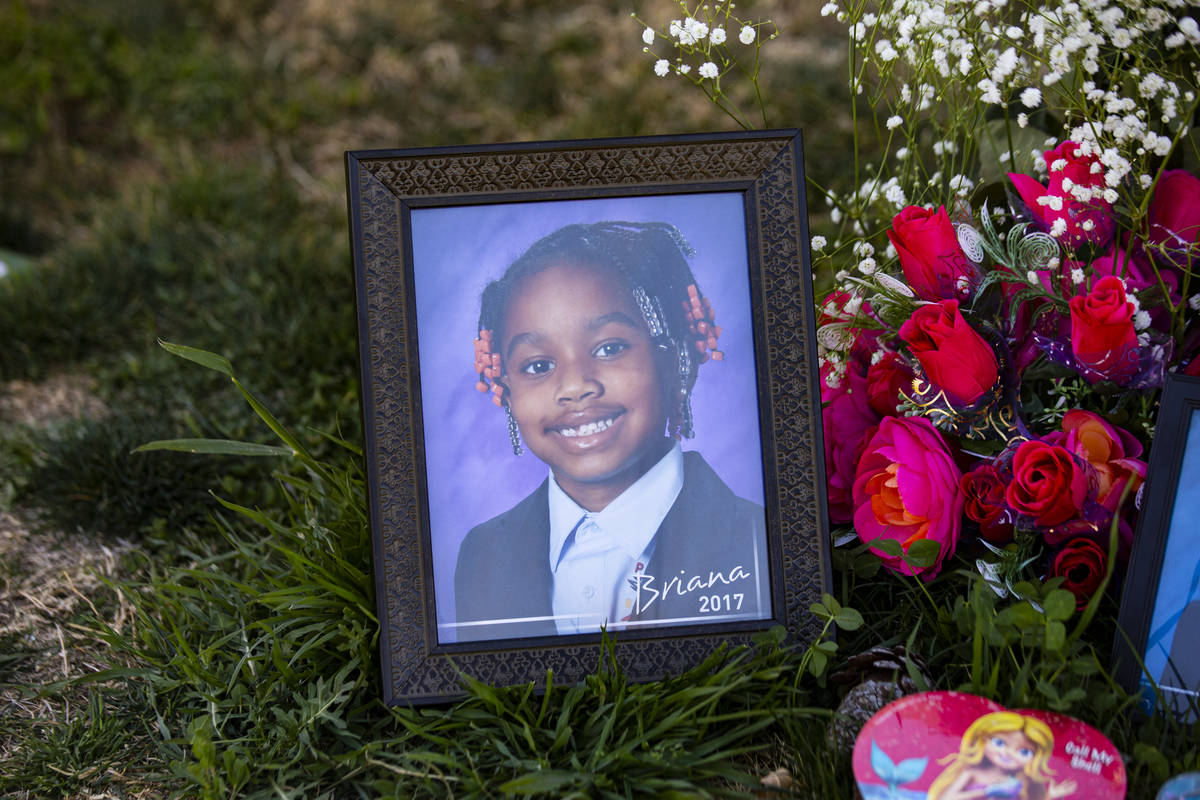 A photo of Briana Bradford by her grave. (Chase Stevens/Las Vegas Review-Journal) @csstevensphoto