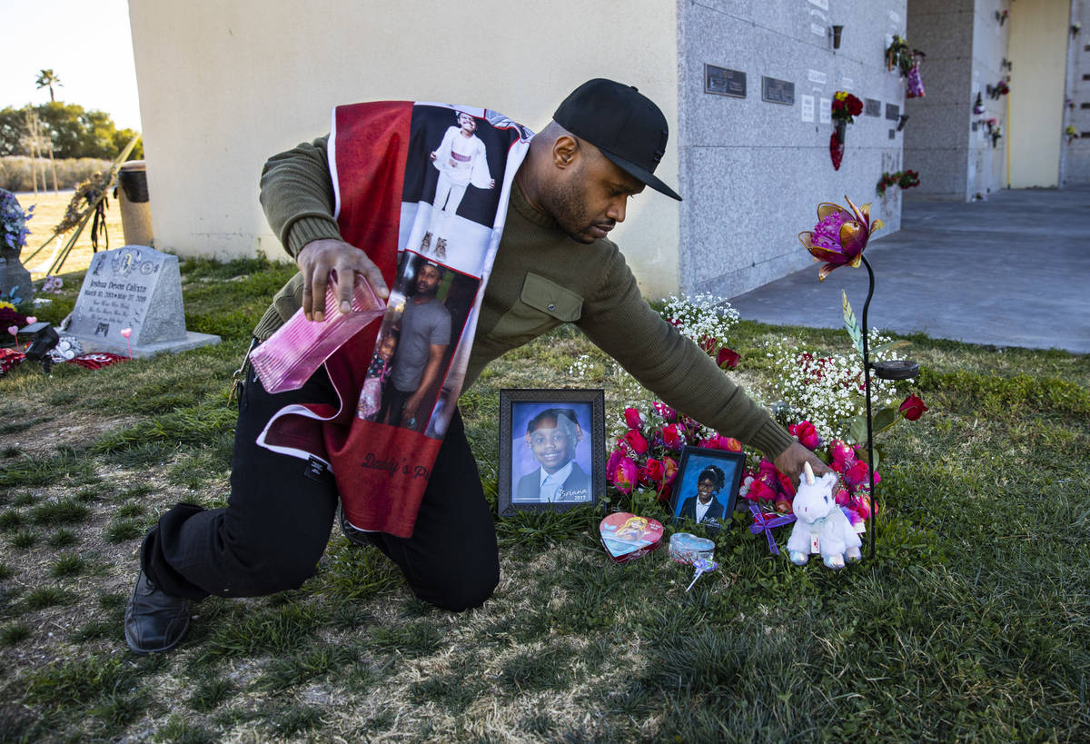 Brian Bradford visits the grave of his daughter, Briana Bradford, on the two-year anniversary s ...