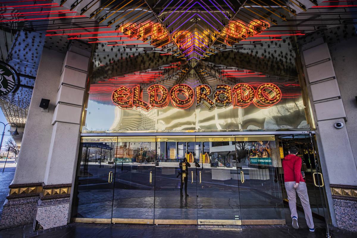 A patron enters the Eldorado Resort Casino on Tuesday, Jan. 19, 2021, in Reno. (Benjamin Hager/ ...