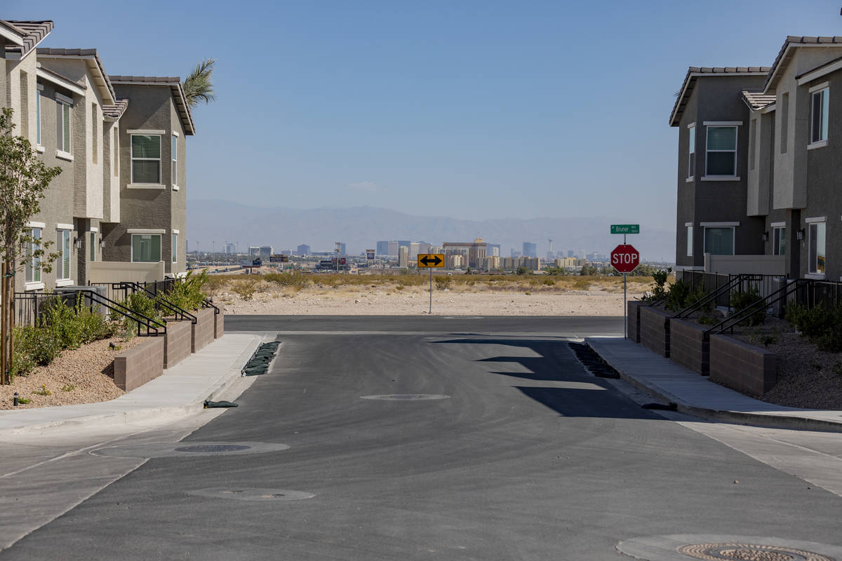 Model townhomes are seen in the Mosaic community located south of the Las Vegas Strip near Las ...