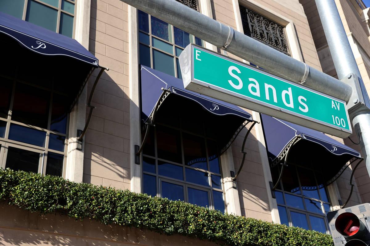 Sands Avenue at Las Vegas Boulevard in Las Vegas Wednesday, March 3, 2021. Las Vegas Sands Corp ...