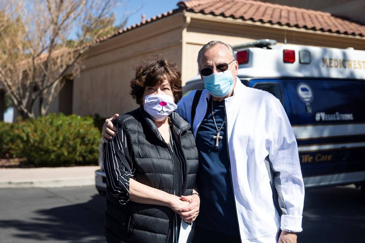 Sandra Hahnenkratt, left, and her husband Ronald Griebell, right, at the Sun City Summerlin ret ...