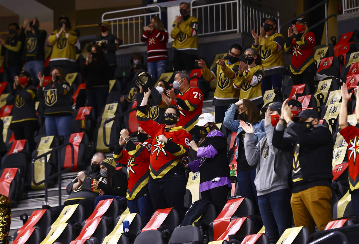 Fans celebrate a goal by Golden Knights left wing Max Pacioretty, not pictured, during the seco ...