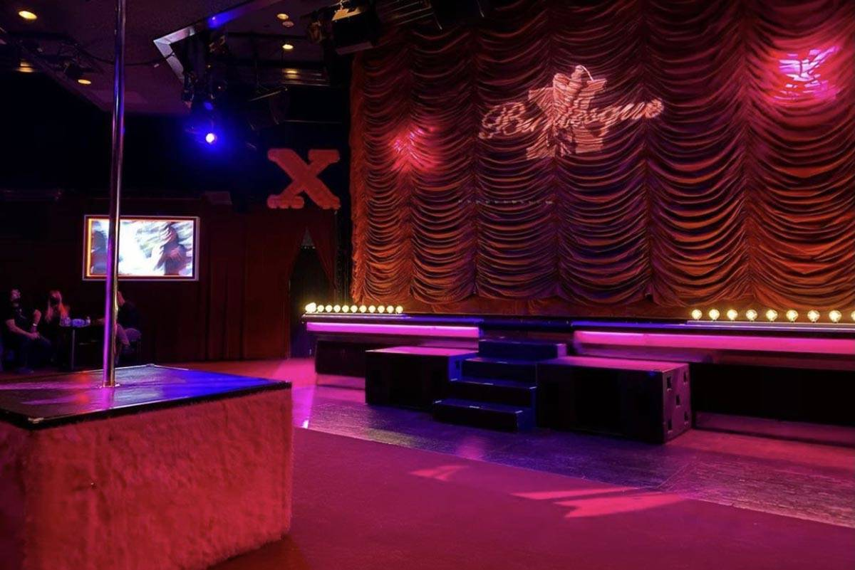 "The socially distant stage for ""X Burlesque"" at Flamingo is shown on Thursday, Jan. 9, 2021. (S ..."