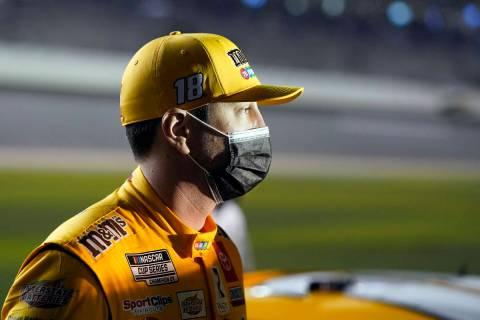 Kyle Busch on pit road before NASCAR Daytona 500 auto race qualifying at Daytona International ...