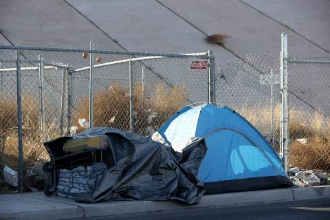 A tent on A Street near Owens Avenue in downtown Las Vegas Tuesday, March 9, 2021. (K.M. Cannon ...