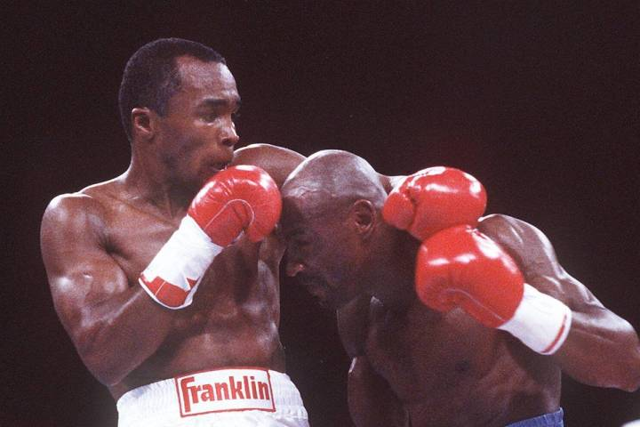 1987 title fight between Sugar Ray Leonard, left, and Marvelous Marvin Hagler at Caesars Palace ...