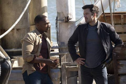 "Anthony Mackie, left, and Sebastian Stan star in ""The Falcon and the Winter Soldier."" (Chuck Zl ..."
