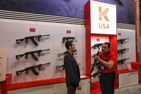 The Kalashnikov USA booth at SHOT Show on Wednesday, Jan. 23, 2019. (Las Vegas Review-Journal)