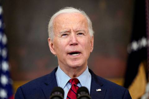 In this March 23, 2021, President Joe Biden speaks about the shooting in Boulder, Colo., in the ...