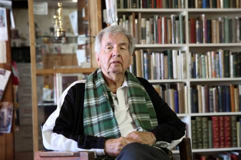 Larry McMurtry poses at his book store in Archer City, Texas, in 2014. (AP Photo/LM Otero)