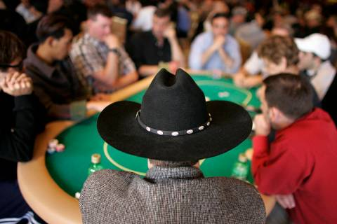 Ray Abdelahaq of Albuquerque, N.M., wears a felt Stetson while playing in the World Poker Tour ...