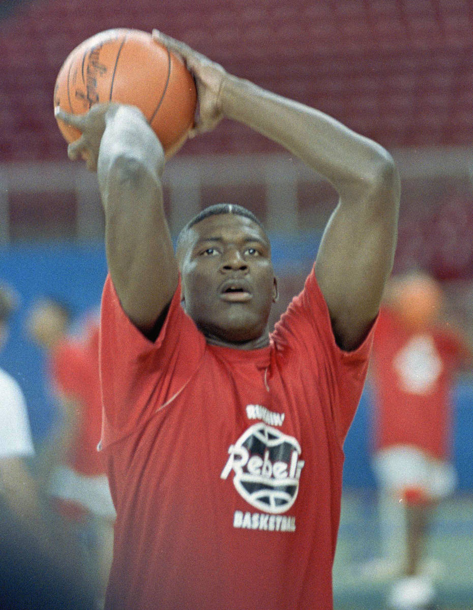 UNLV's Larry Johnson, a member of last year's NCAA championship team has his eye on another tit ...
