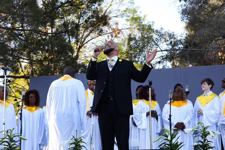 James Smith sings alongside the Las Vegas Mass Choir at the 36th Annual Easter Sunrise Service ...