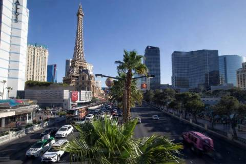 Traffic on the Las Vegas Strip on Tuesday, April 6, 2021. (Ellen Schmidt/Las Vegas Review-Journ ...