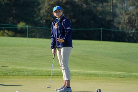 Ali Mulhall, of Henderson, Nevada, reacts to her putt during the Drive Chip & Putt National ...