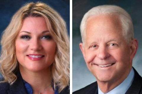 Henderson council members Michelle Romero, left, and Dan Stewart, are running for mayor of Neva ...