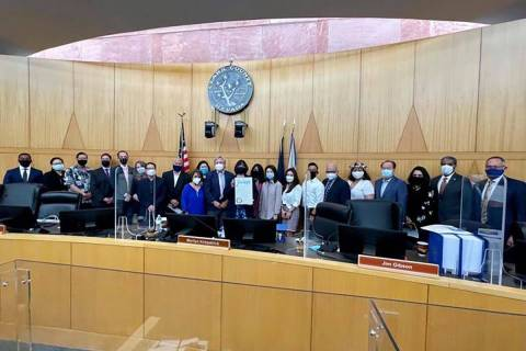 Clark County commissioners meet with leaders of the Asian American community on Tuesday, April ...