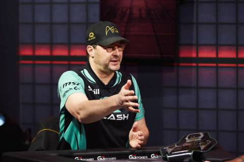 """Phil Hellmuth gestures during his victory over Daniel Negreanu in their """"High Stakes Duel"""" broa ..."""