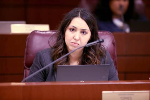 In this Feb. 5, 2019, file photo, assemblywoman Selena Torres, D-Las Vegas, listens to testimon ...