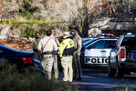 Police investigate the scene of a homicide on the 3900 block of West Cheyenne on Tuesday, March ...