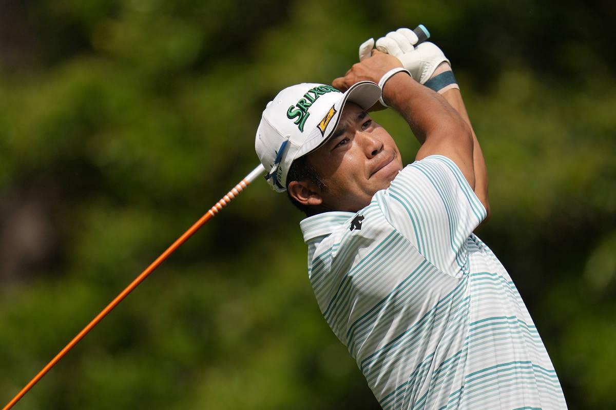 Hideki Matsuyama, of Japan, during the third round of the Masters golf tournament on Saturday, ...