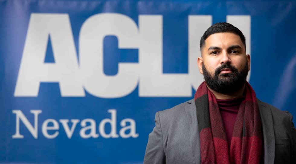 Athar Haseebullah, the new executive director of the ACLU of Nevada, at the agency's office in ...