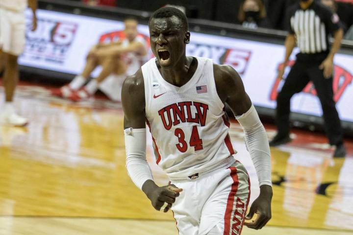 UNLV Rebels forward Cheikh Mbacke Diong (34) celebrates after scoring and being fouled in the f ...