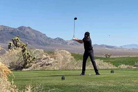 Harry Hall drives the ball during a practice round on the Sun Mountain course at Paiute Golf Re ...