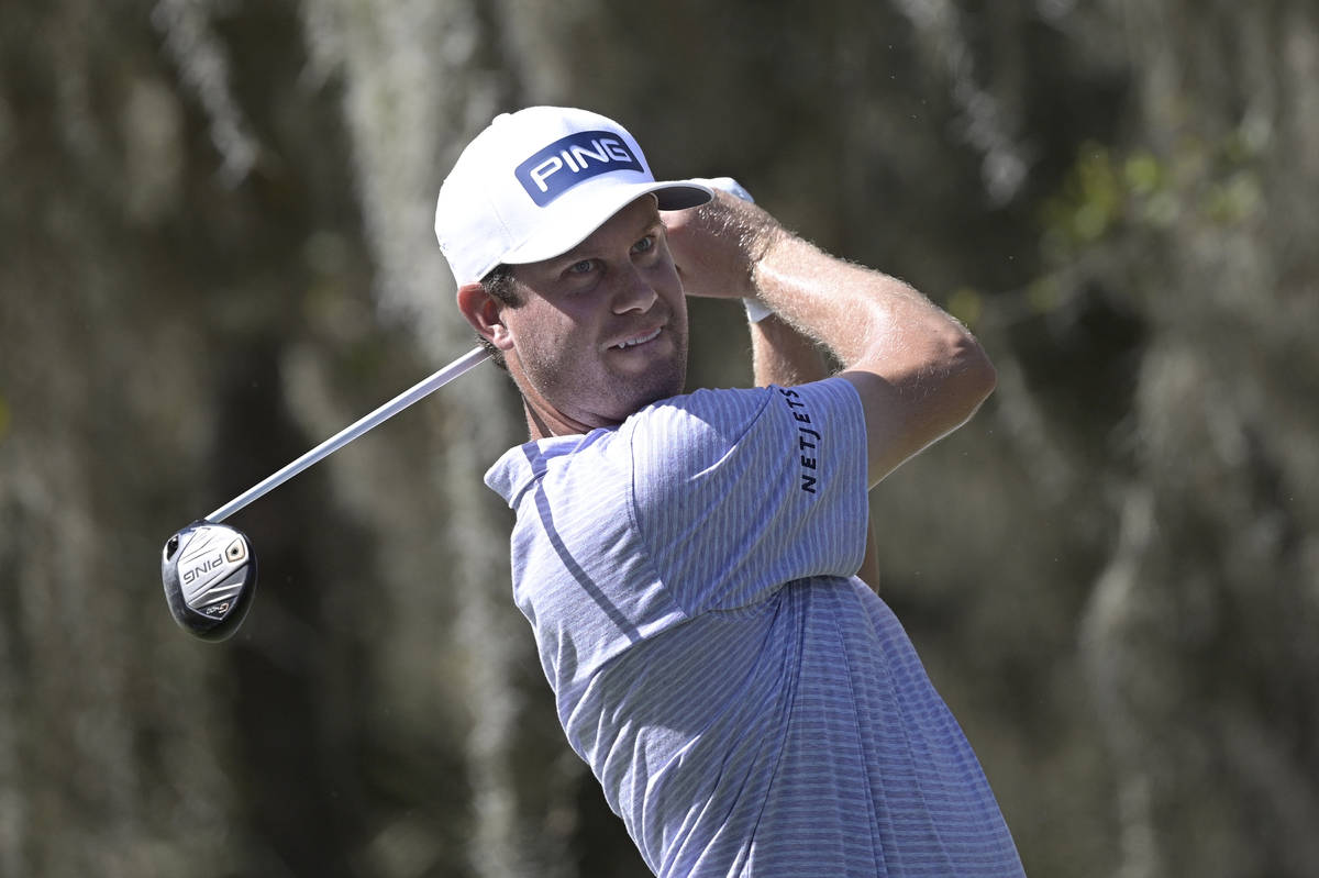 Harris English watches his tee shot on the ninth hole during the third round of the Workday Cha ...