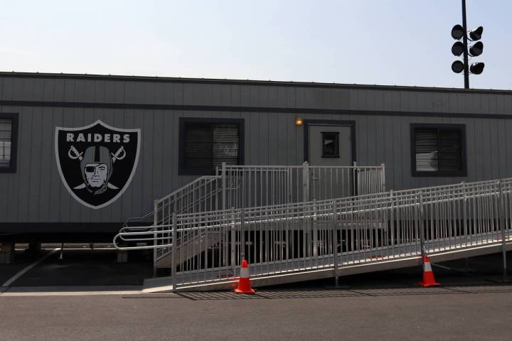 The Las Vegas Raiders COVID-19 testing trailer in front of the team's headquarters in Henderson ...