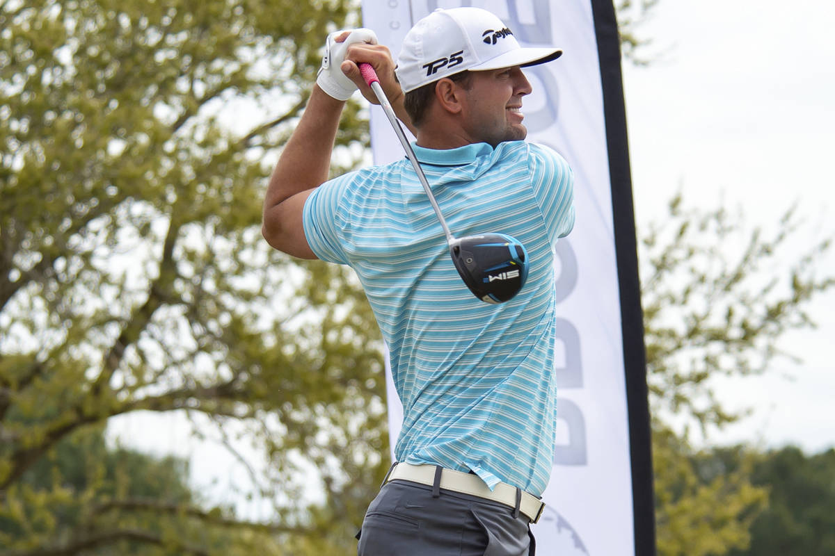 Taylor Montgomery tees off during the final round of the Louisiana Open golf tournament at Le T ...