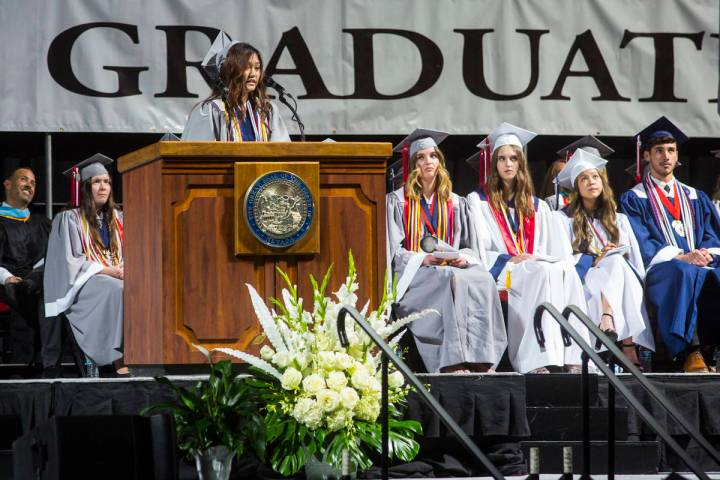 in this May 25, 2019, file photo, Coronado High School valedictorian Mina Chia speaks during th ...