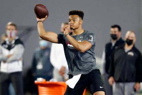 Quarterback Justin Fields throws as part of a drill during an NFL Pro Day at Ohio State Univers ...