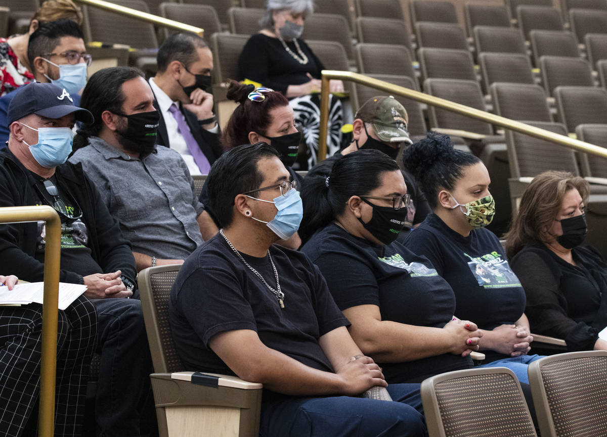Family members of Jorge Gomez attend a public fact-finding review for fatal officer involve sho ...