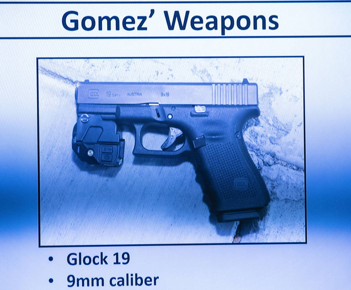 Jorge GomezÕ weapon was displayed as Metro detective Jason Leavitt takes the witness stand ...