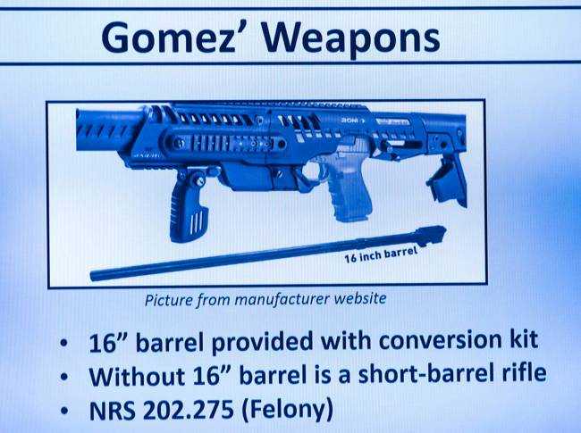 An image of a weapon found in Jorge Gomez's possession after he was fatally shot by Las Vegas p ...