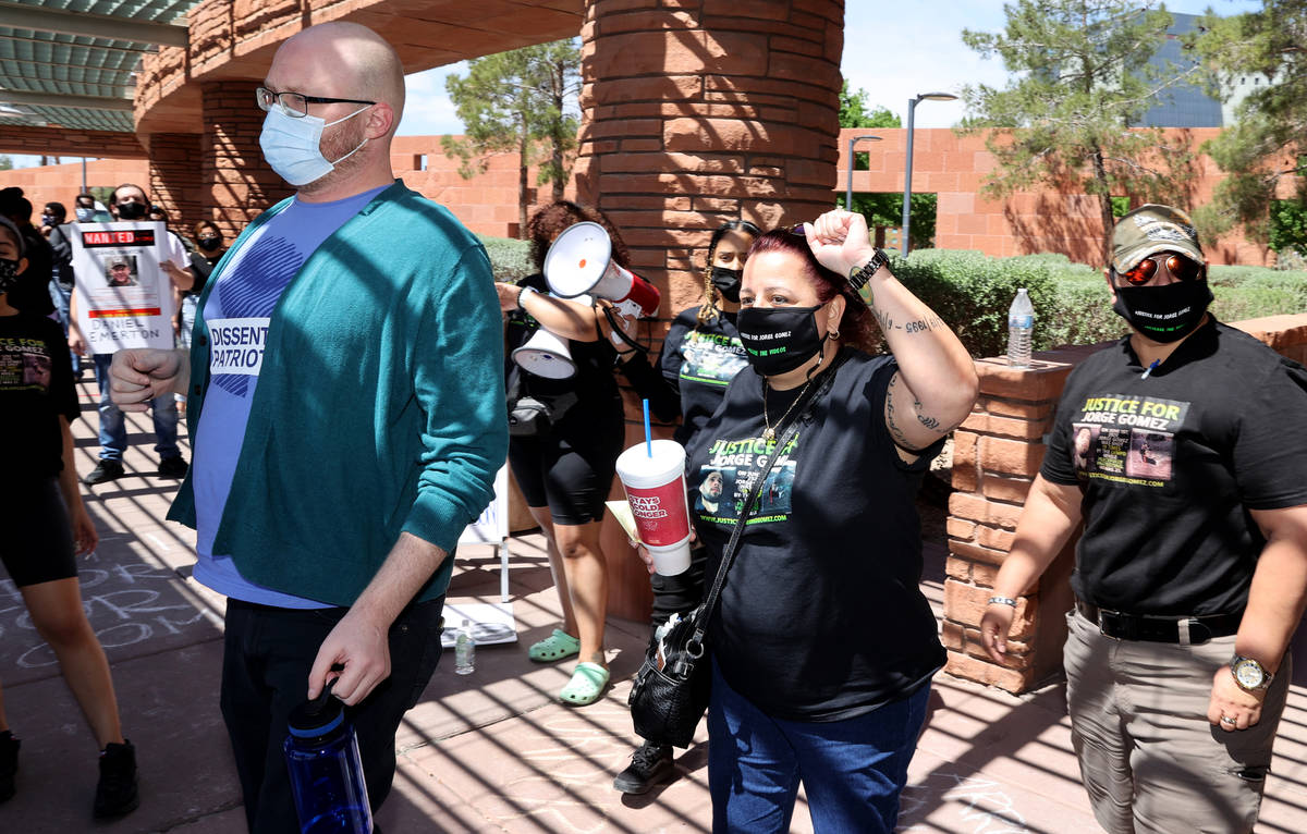 Jeanne Llera, mother of Jorge Gomez, exits the Clark County Government Center in Las Vegas with ...