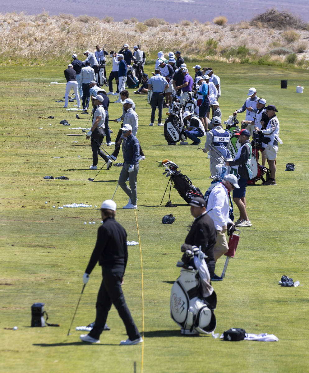 Triple-A golfers practice their drive during the first round of the MGM Championships at Paiute ...