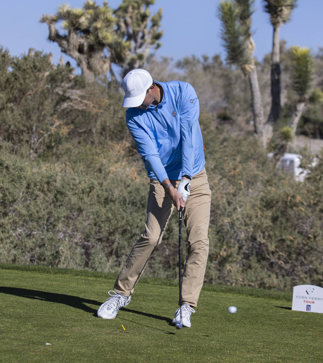 Jay McLuen of Forsyth, Ga., hits his drive during the first round of the MGM Championships at P ...