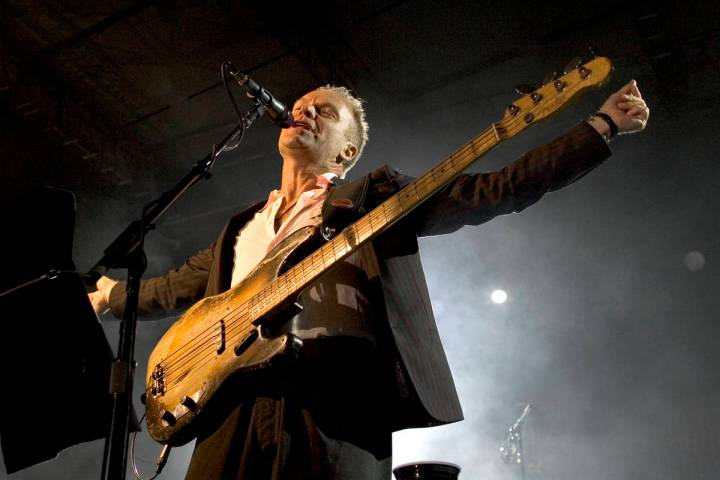 Sting performs at the Red Rock Resort pool during VIP grand opening festivities for $925 millio ...