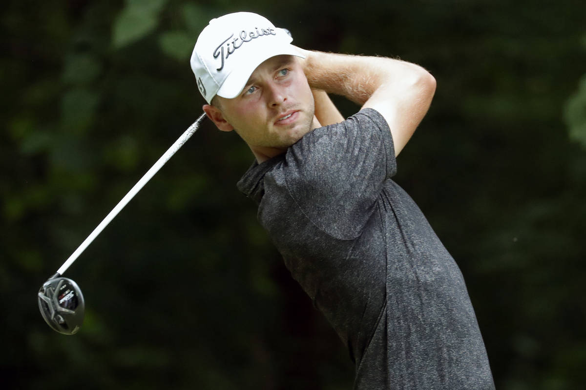 Adam Svensson hits his tee shot on the second hole during the third round of the Wyndham Champi ...