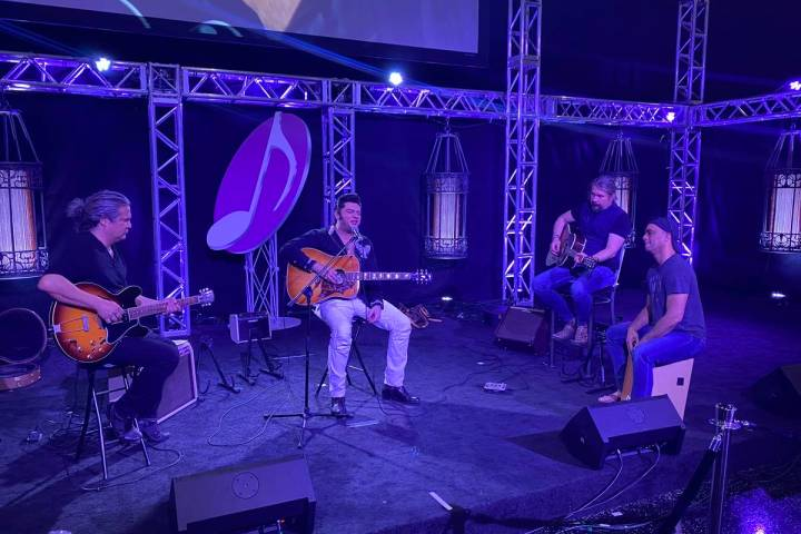 "Elvis Lederer, Justin Shandor, Martin Zimmerman and Pepe Jimenez jam during rehearsals for ""Elv ..."
