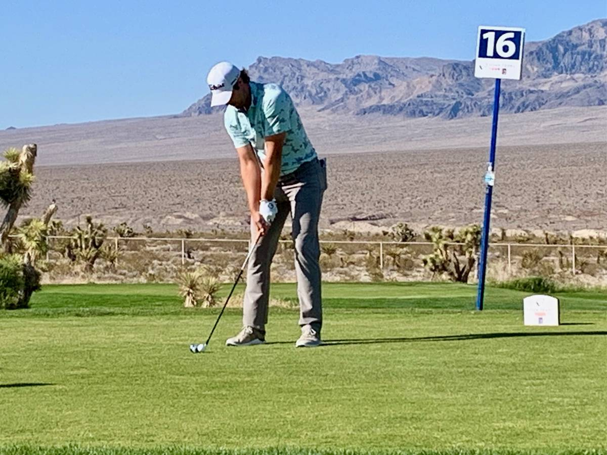 Peter Uihlein takes a shot during the final round of the Korn Ferry Tour's MGM Resorts Champion ...