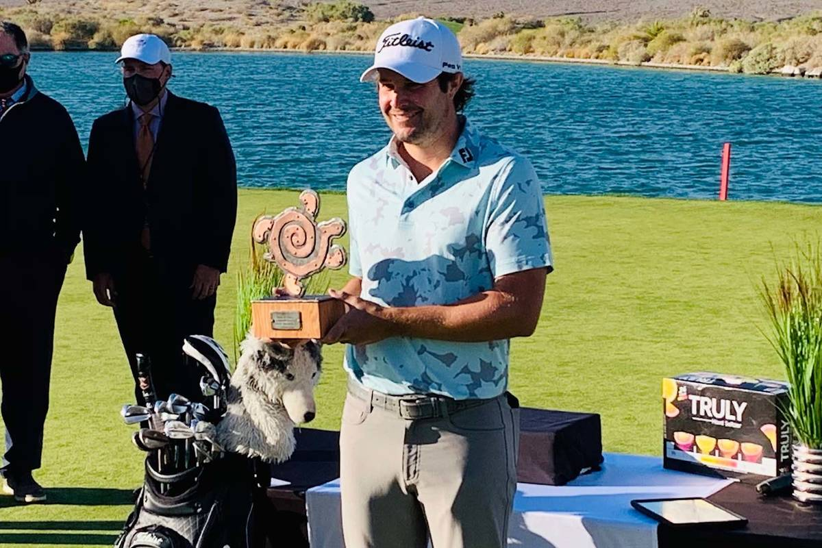 Peter Uihlein celebrates after winning the Korn Ferry Tour's MGM Resorts Championship on Sunday ...