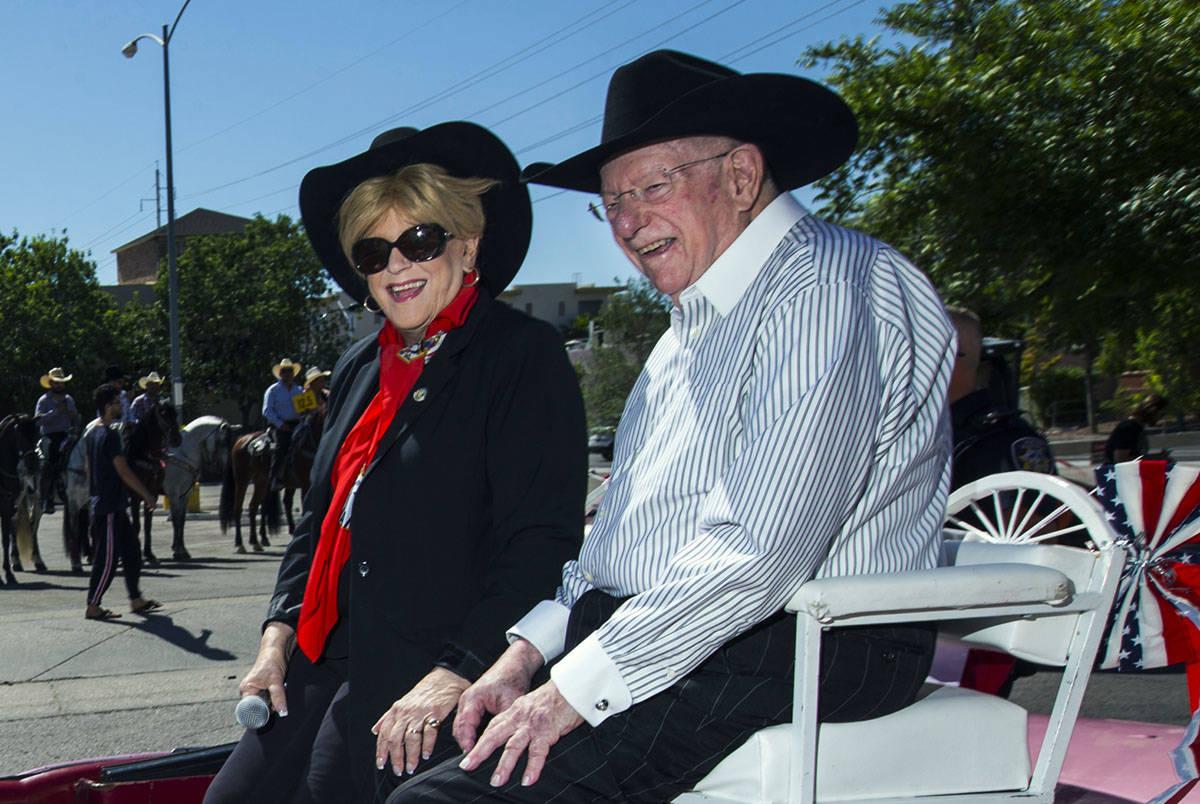 Mayor Carolyn Goodman and her husband Oscar ride during the Helldorado Parade along Fourth Stre ...
