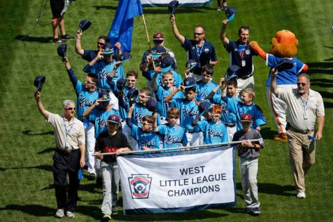 The Mountain Ridge Little League baseball team from Las Vegas participates in the opening cerem ...