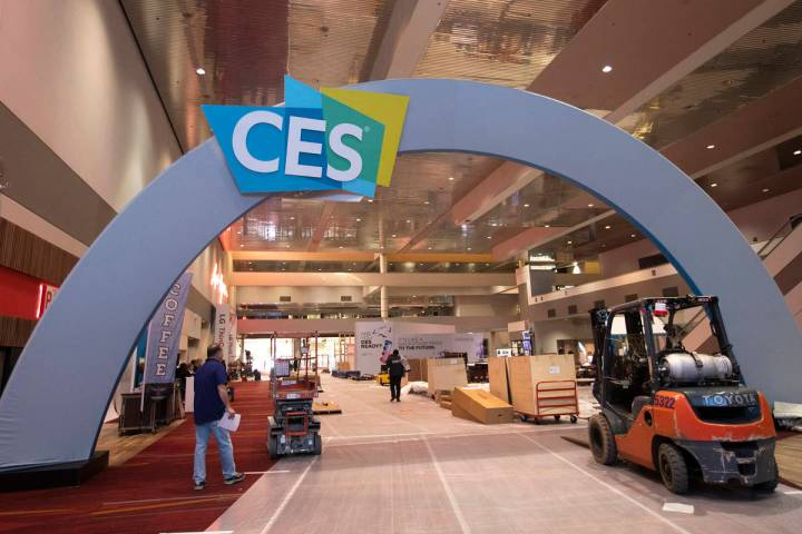 Set up for CES is underway at the Las Vegas Convention Center on Friday, Dec. 27, 2019, in Las ...