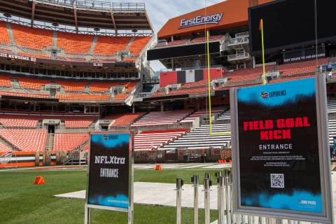 Platforms are placed over the field at FirstEnergy Stadium where fans will get to participate i ...