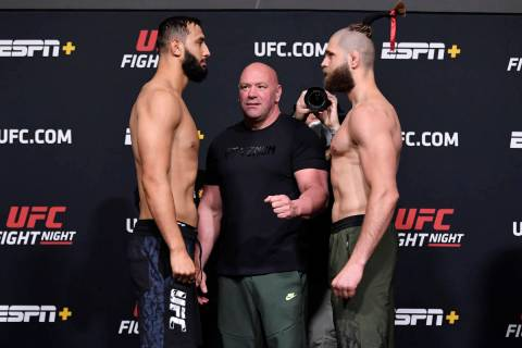 Opponents Dominick Reyes and Jiri Prochazka of the Czech Republic face off during the UFC weigh ...